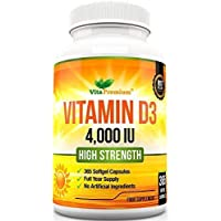 Vitamin D 4,000 IU, Maximum Strength Vitamin D3 Supplement, 365 Easy to Swallow Softgels - Full Year Supply