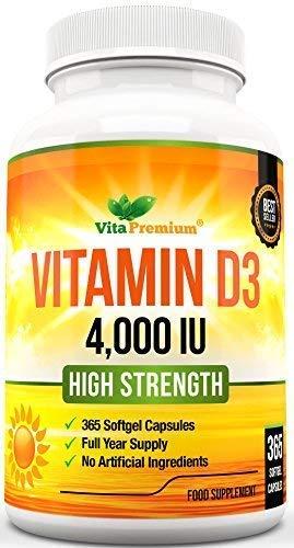 Vitamin D 4,000 IU, Maximum Strength Vitamin D3 Supplement, 365 Easy to Swallow Softgels - Full Year Supply product image