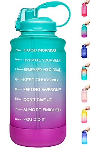 🥇 Elvira Half Gallon/64oz Motivational Time Marker Water Bottle with Straw & Protective Silicone Boot