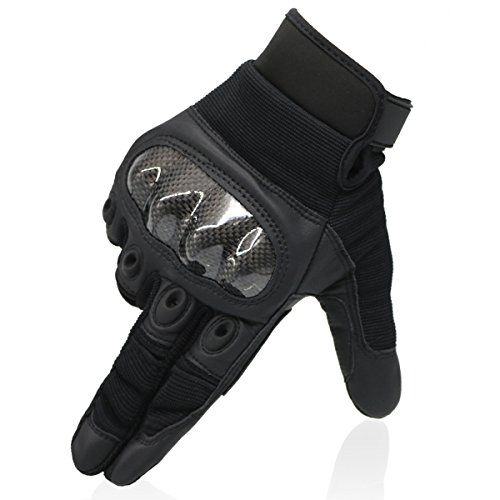 OMGAI Men's Full Finger Military Tactical Gloves of Pu Leather and Hard Knuckle for Airsoft Army Paintball Motorcycle Outdoor Sports Black L