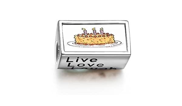 9f1806ea8c128 Amazon.com : 1001love Three Candles Birthday Cake Words Live Love Laugh  Bead Charm : Beauty