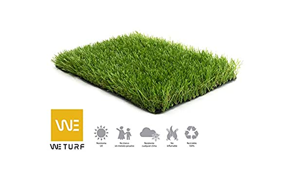 WETURF Césped Artificial/Césped Sintético 40mm (2mx0, 5mx5m, Bicolor con rizo Beig): Amazon.es: Jardín