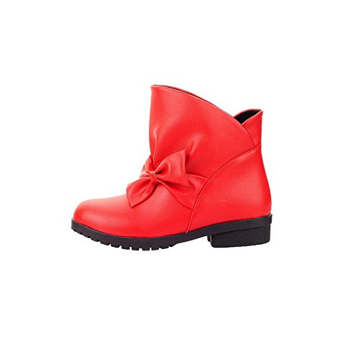 AgooLar Women's Pull On Low-Heels PU Solid Round-Toe Boots Red pwfLOONWuP