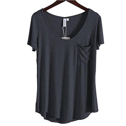 LUFENG Women's Casual V Neck T-Shirt Short Sleeve High Low Tunic Loose Blouse Tops with Pocket Iron Grey