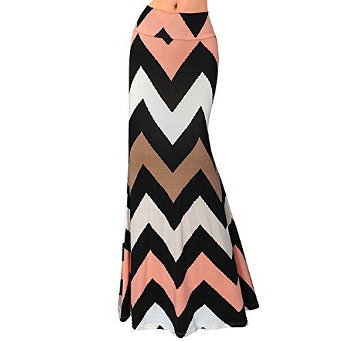 Silhouettes Silk Skirt (YAOSEN Women Summer Floral Print Dress Milk Silk Maxi Long Skirt Causal Dress (Orange, L))