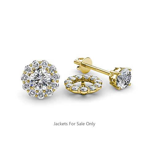 Diamond 0.66 Carat tw Women Halo Jackets for Stud Earrings in 14K Yellow Gold