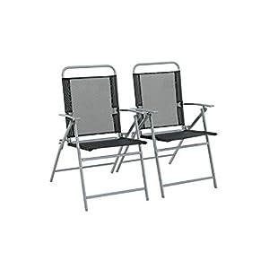 Havnyt Pacific Garden Folding Chairs Textilene Mesh Steel Frame Weatherproof set of (2)