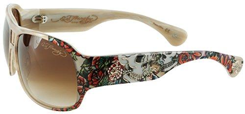 Roses Womens Hardy Ed (Ed Hardy Brie Skull And Roses women's designer Sunglasses - White Horn)
