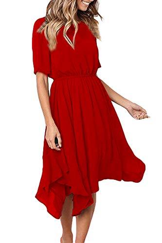Alaster Queen Women's Chiffon Short Sleeve Casual Midi Dress EmpireWaist Irregular Hem Summer Dress (Red, Small)