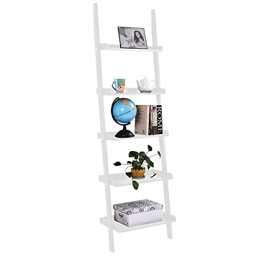 Leaning Ladder Wall Shelf White 5-Tier Bookshelf For storage things like books, plants or decorative items in your (Big Wall Ladder)