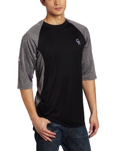 MLB Colorado Rockies 3/4 Sleeve Featherweight Tech Fleece Pullover, Black/Grey, X-Large