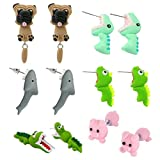 WWahuayuan 6 Pair Shark Crocodiles Earrings,Handcraft Polymer Clay Cute 3D Dinosaur Pig Shapi Dog Insects Animal Earrings-Chomper earrings,Piranha Earrings,Fimo Studs