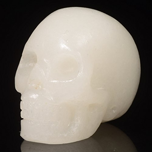 "Mineralbiz 1.5"" Natural White Jade Hand Carved Crystal Skull, White Stone Human Skull Head, Pocket Skull, Skull Carving, Crystal Gemstone Healing Re"
