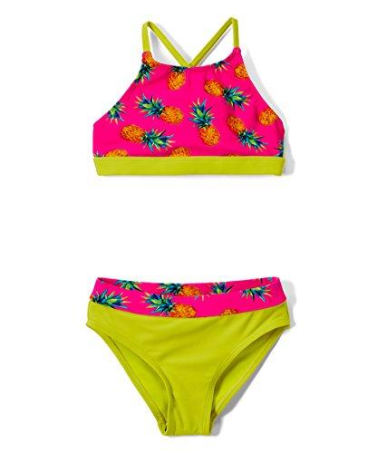 Girls' Fashion Ruffle Bikini Swimsuit Set with UPF 50+ Sun Protection (A-Pink Pineapple, -