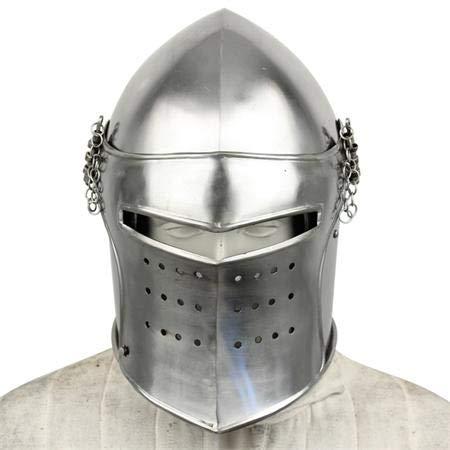 NAUTICALMART Functional Battle Ready Bascinet Close Combat Helmet 18G Steel Leather Line SCA