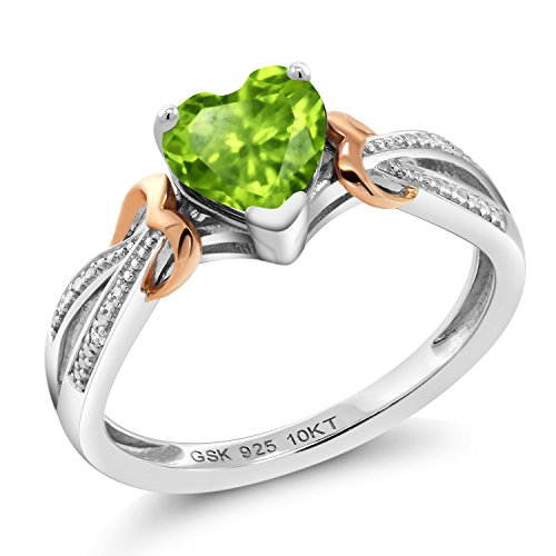 (Gem Stone King 925 Silver & 10K Rose Gold Diamond Ring 0.84 Ct Heart Shape Green Peridot (Size 6))