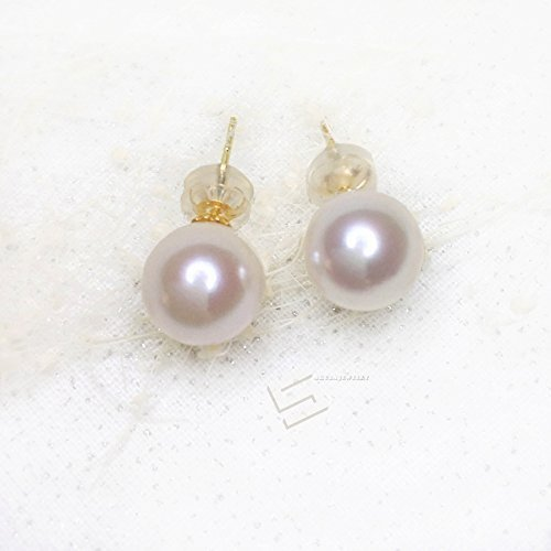 Akoya Pearls In Gold Earring Studs, AAA Grade 9MM Japanese Saltwater Akoya Pearl & 18Kt Solid Gold Earrings, South Sea Pearl Earrings