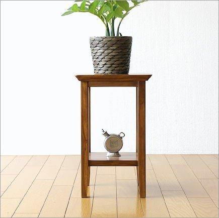 花台 花瓶台 フラワースタンド 無垢材 木製 観葉植物 玄関 飾台 チーク花台40 [wat7240] B01G4UK7Q6