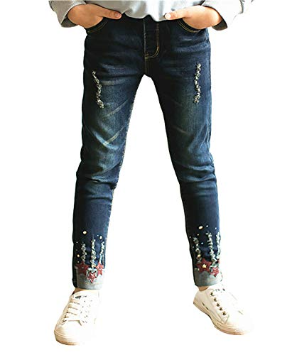 Big Girls' 5 Pocket Classic Pull on Skinny Stretch Jeans with Rips and Red Stars 120