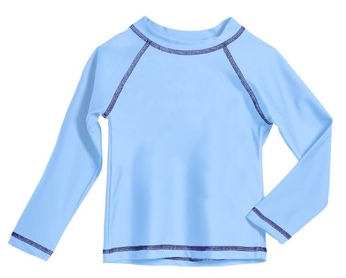 Baby Boys' and Girls' Solid Rashguard Swimming Tee Shirt Rash Guard SPF Sun Protection for Summer Beach Pool and Play, Bright Lt. Blue, 12-18 mon, L/S