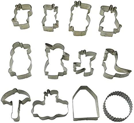 Amazon Com Stainless Steel Cookie Cutter Biscuit Maker 12 Pack Kitchen Dining