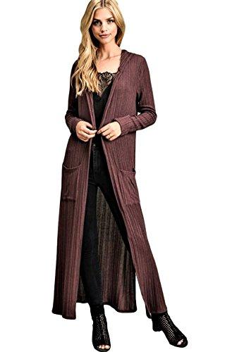 MoonShine Clothing Long Cardigan hoodie Ribbed Knit Pockets Side Slit Mid Calve length Gray Brown Burgundy (Burgundy, large) Hooded Ribbed Cardigan