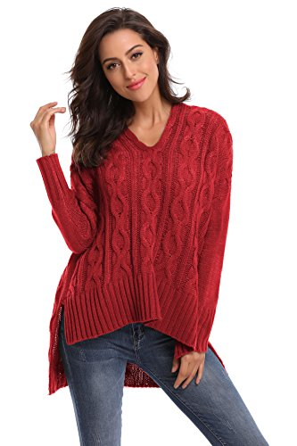 Ladies V-neck Cable - SHEKINI Women's Sweater Casual Long Sleeve V Neck Chunky Cable Knit Oversized Pullover Jumpers (Burgundy, Large/(US 12-14))