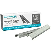 50,000 Staples, Standard 1/4 inch length and 210 staples per strip, 26/6, Jam free sharp chisel point design, 10 Boxes of 5,000 staples, 50,000 Staples total, Fits standard staplers