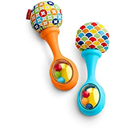 Fisher-Price Rattle 'n Rock Maracas, Blue/Orange [Amazon Exclusive] 16 Includes 2 toy maracas Sized just right for little hands to grasp and shake Colorful beads make fun rattle sounds when shaken