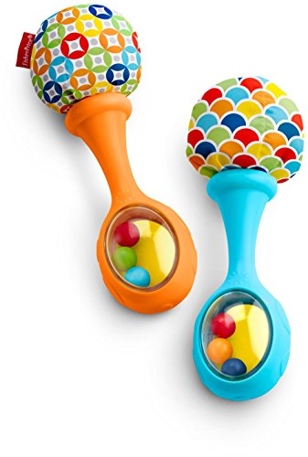 Fisher-Price Rattle 'n Rock Maracas, Blue/Orange [Amazon Exclusive] (First Love Instruments)