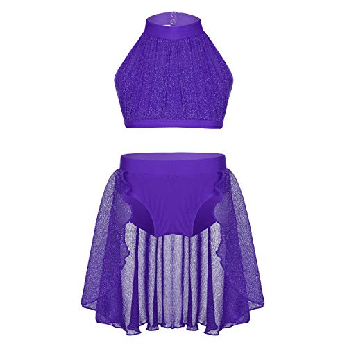 Lyrical Jazz Dance - inlzdz Little Big Girls Lyrical Dance 2pcs Outfit High Turtleneck Crop Top with Skirted Bottoms Athletic Dance Costume Purple 10-12