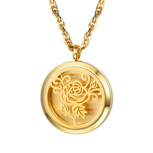 Diffuser Aromatherapy Necklace,Perfume Locket Pendant Charm,Delicate Rose Flower Women Jewelry,18K Gold Plated,Mother's Day Gift