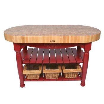 American Heritage Harvest Kitchen Island with Butcher Block Top Base Finish: Barn Red