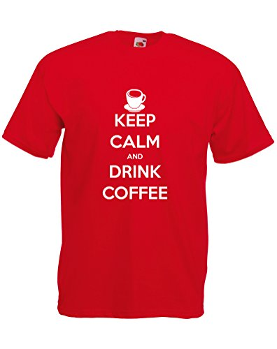 Keep Calm and Drink Coffee , Adults Printed T-Shirt - Red/White 2XL