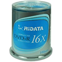 100-Pack RiDATA DRD+4716-RDCB1009 4.7GB 16X DVD+R DVD Disc Spindle