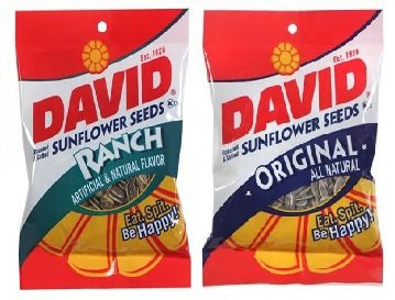 David Roasted and Salted Jumbo Sunflower Seeds, Gluten Free, Ranch and Original, 4 oz (Pack of 2) ()