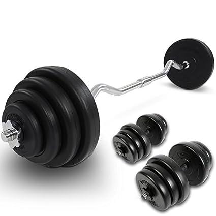 Physionics - Juego de mancuernas y barra curva con pesas (12 pesas en forma de