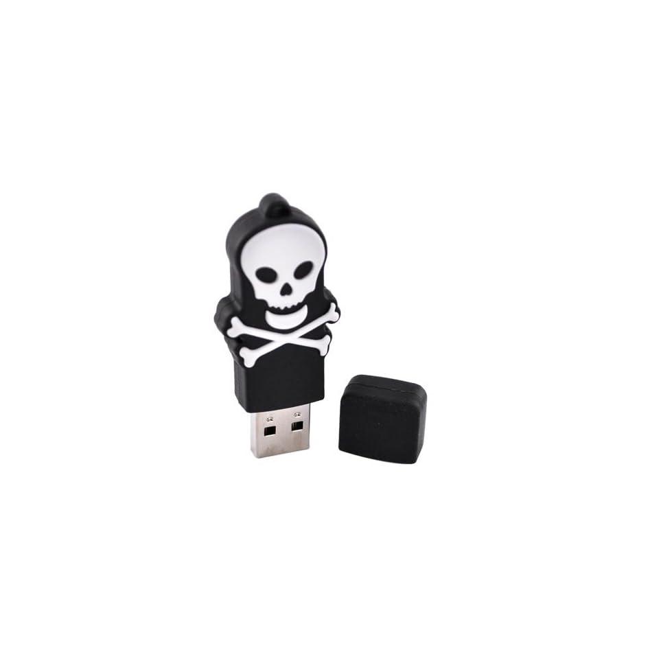 WHITE SKULL BLACK Original EMTEC 4GB USB Flash Drive Memory Stick