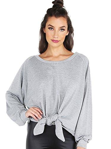 SweatyRocks Women's Oversized Knot Front Long Sleeve Sweatshirt Grey S