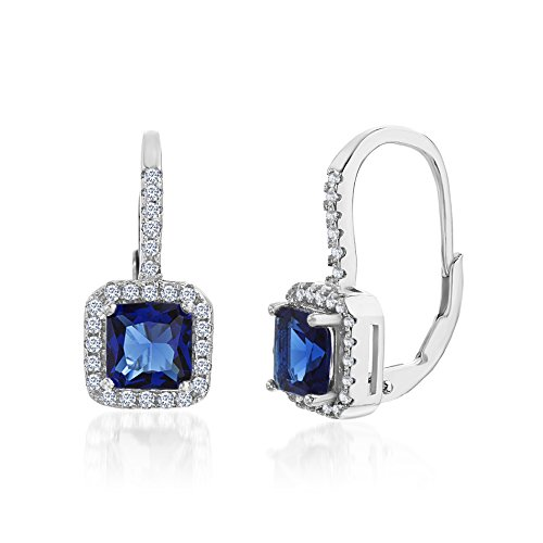 [18K White Gold Over Sterling Silver Square Halo Cubic Zirconia Sapphire Lever Back Earring] (Red Skull Costume Uk)