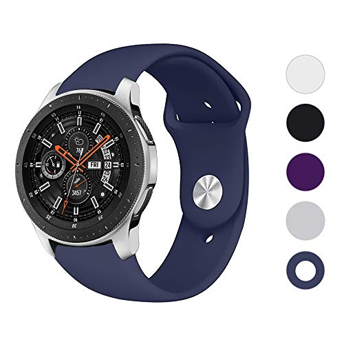 LittleForest 22mm Silicone Band Compatible for Samsung Galaxy Watch 46mm TicWatch E2 Ticwatch Pro Fossil Sport 43mm Bands, Soft Sport Silicone Replacement Wristband (L)-Midnight Blue
