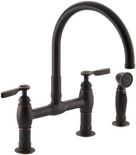 KOHLER K-6131-4-2BZ Parq Two-Hole Deck-Mount Bridge Kitchen Sink Faucet with 9 in. Gooseneck, Matching Finish Sidespray and Lever Handles, Oil-Rubbed Bronze