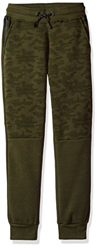 Price comparison product image Southpole Big Boys' Camo Blocked Fleece Jogger Pants With Tape Detail, Olive, Medium
