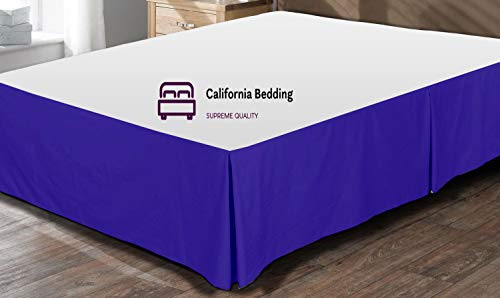 (California Bedding 600 Thread Count Egyptian Cotton Twin Size Split Corner Tailored Bed Skirt 18'' Inch Drop Length Easy Fit, Wrinkle & Fade Resistant Royal Blue Solid)