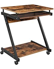 VASAGLE Stolik pod komputer w kształcie Z, biurko, kompaktowy stół biurowy, łatwy montaż, koła z hamulcami, duża wysuwana półka na klawiaturę, biuro, gabinet, styl vintage, czarny LCD811X01