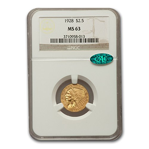 (1928 $2.50 Indian Gold Quarter Eagle MS-63 NGC CAC $2.50 MS-63 NGC)