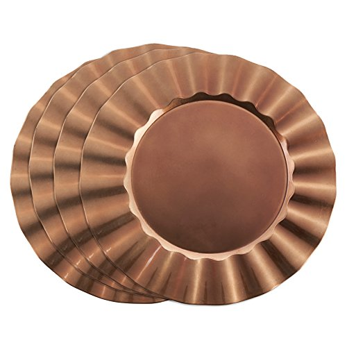 Copper Charger Plate (SARO LIFESTYLE Ruffle Design Collection Metallic Round Charger Plate, 13