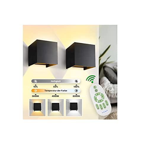 imoli 2 Stücke LED Wandleuchten Innen mit 2 in 1 Fernbedienung Dimmbare Wandlampe Warmweiß/Kaltweiß/Neutralweiß und Einstellbare Helligkeits für Schlafzimmer Flur Treppenhaus Beleuchtung (Schwarz)…