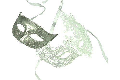 Kayso Inc Original Lover's White Collection - Couple's Masquerade Mask Set, Set 12 by KAYSO