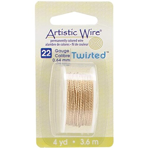 Beadalon AWD22TNT 22 Gauge Twisted Round-Non-Tarnish Artistic Wire, 4-Yard, Brass (Twisted Wire Jewelry)